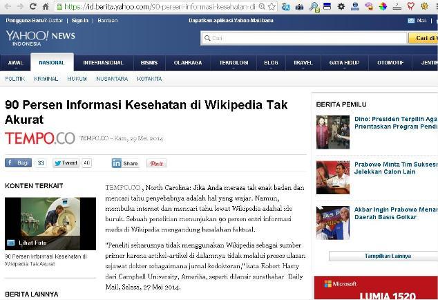 Jangan diagnosis penyakit sendiri berdasarkan Wikipedia